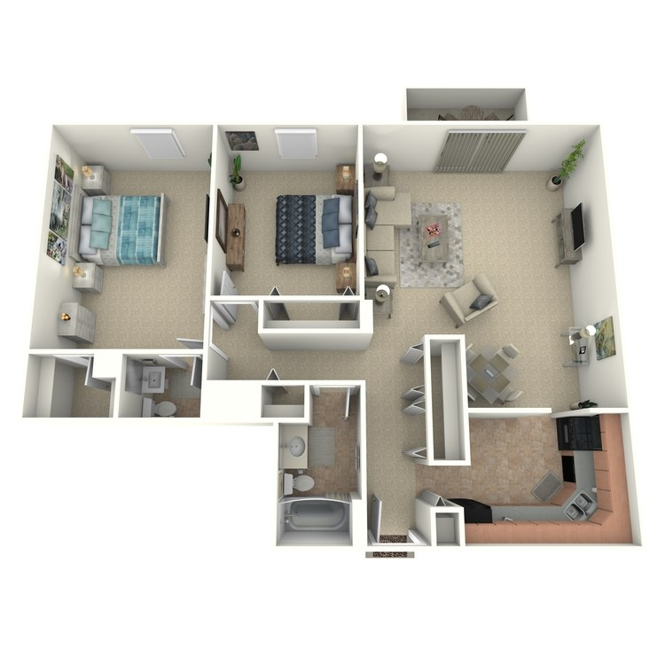 Floor plan image of 2 Bed 1.5 Bath