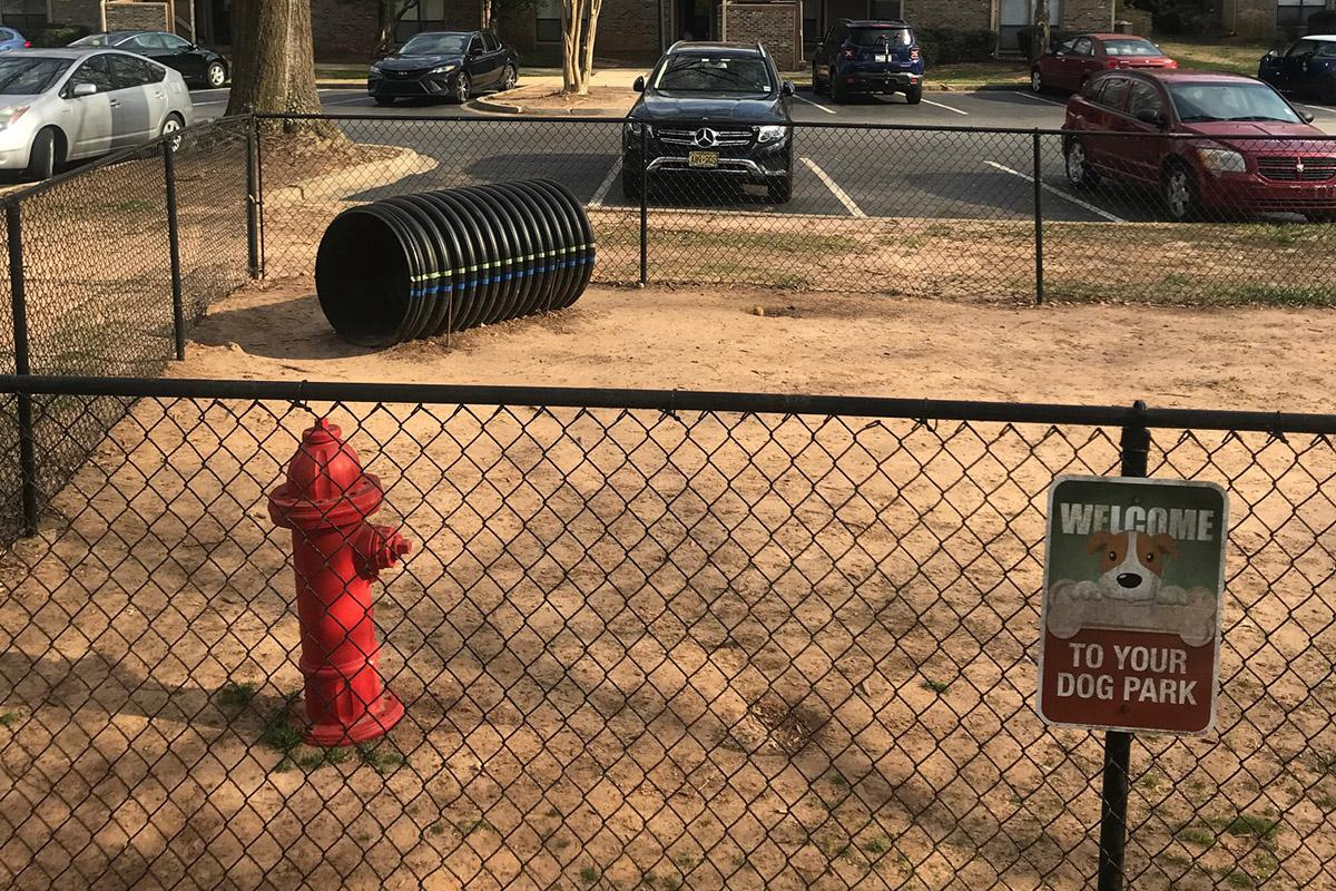 a fire hydrant sitting on the side of a fence