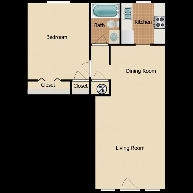 1 Bed 1 Bath Upgraded floor plan image