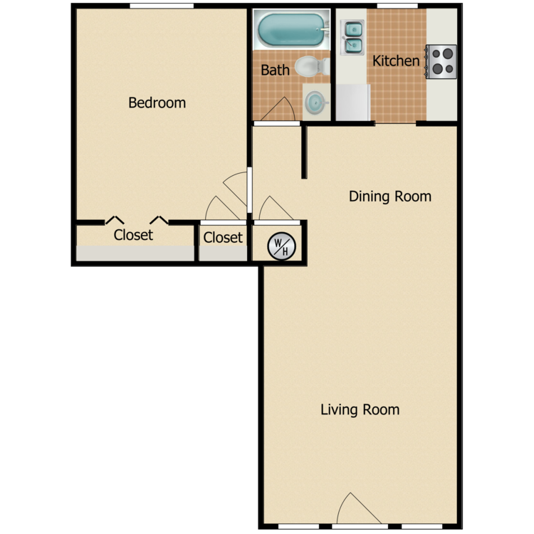Floor plan image of 1 Bed 1 Bath Renovated