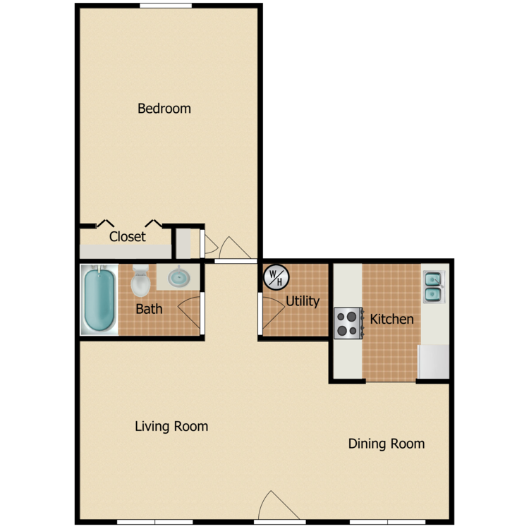 Floor plan image of 1 Bed 1 Bath L Renovated