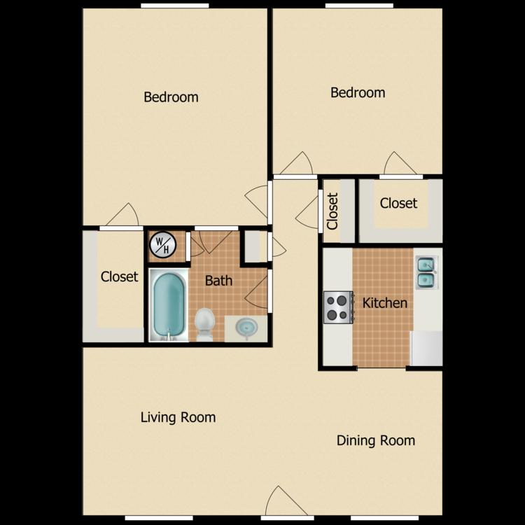 2 Bed 1 Bath Classic floor plan image