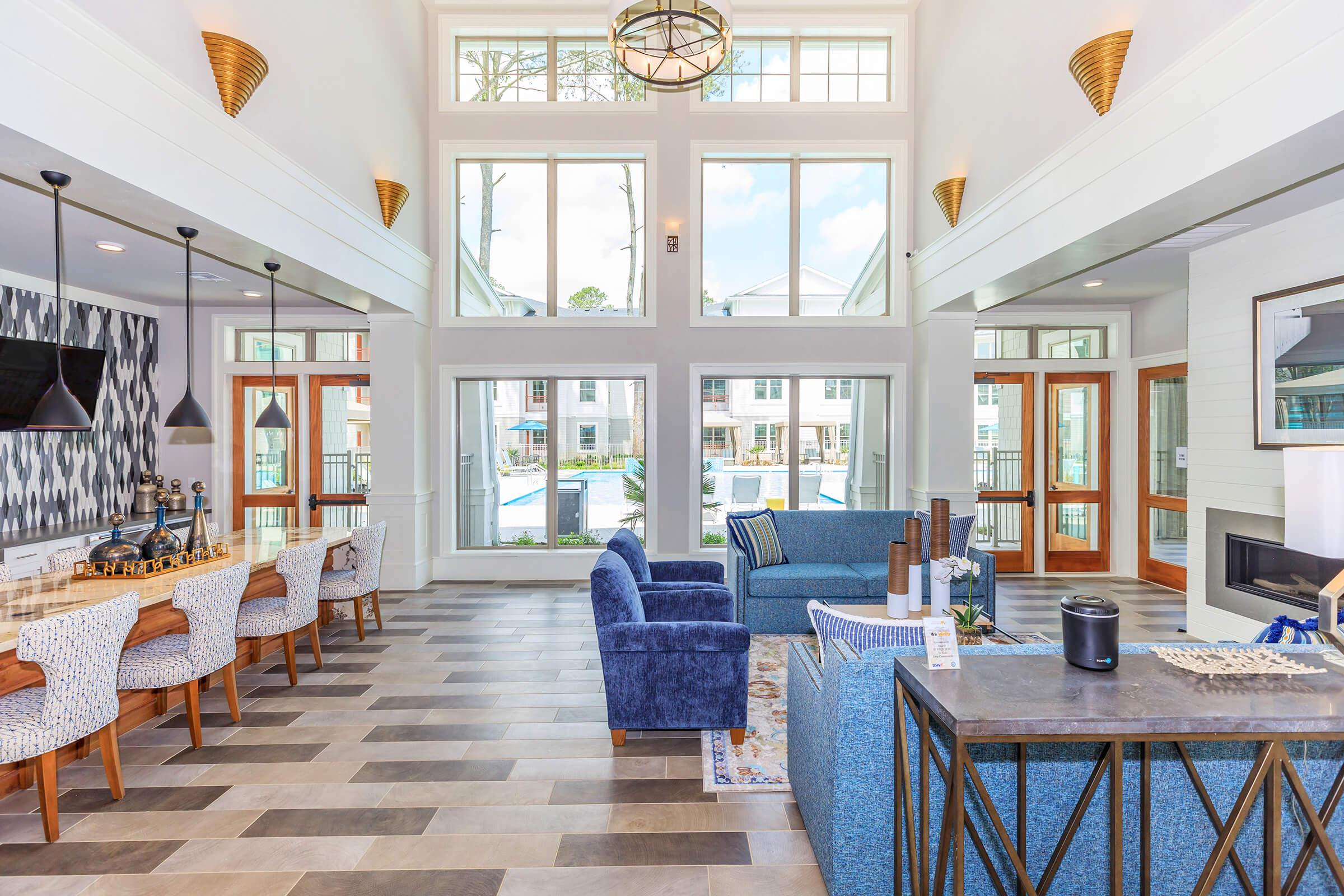 Elegant Clubhouse here at Ariza Gosling in Spring, Texas
