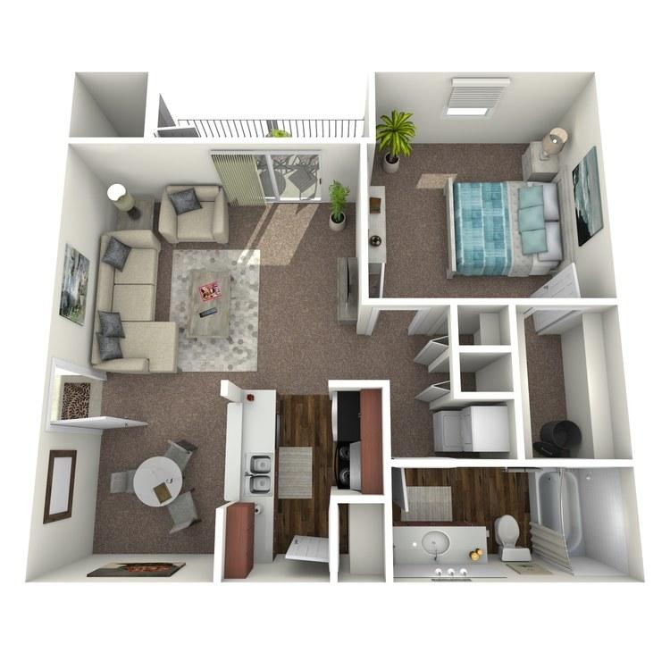 Floor plan image of 1 Bed 1 Bath A1-A1U