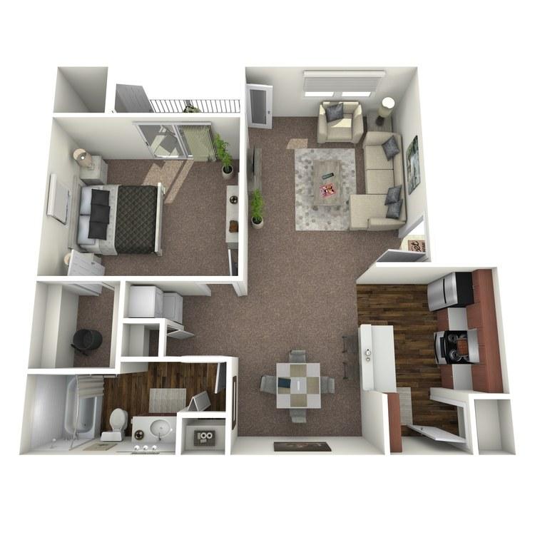 Floor plan image of 1 Bed 1 Bath A2-A2U