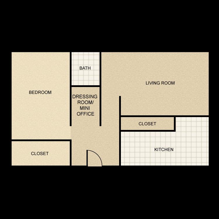 1 Bed 1 Bath floor plan image