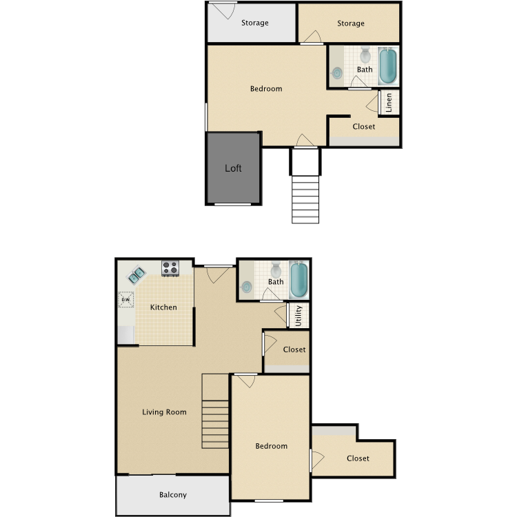 Floor plan image of 2 Bed 2 Bath With Loft