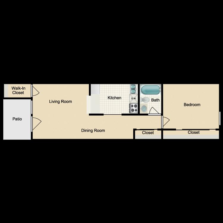 Floor plan image of 1x1 C