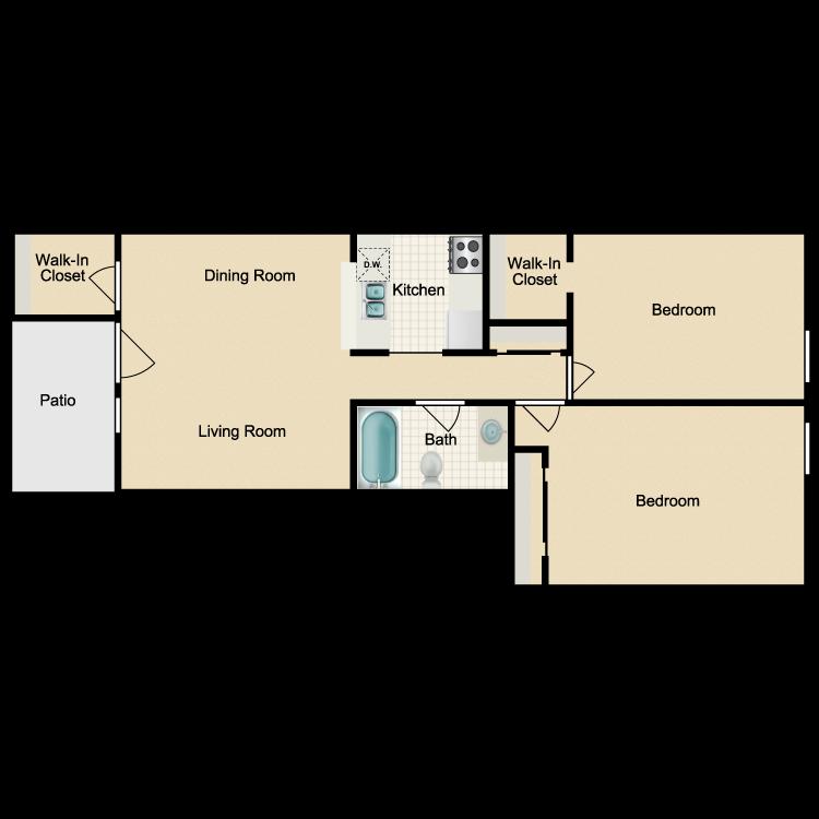 Floor plan image of 2x1