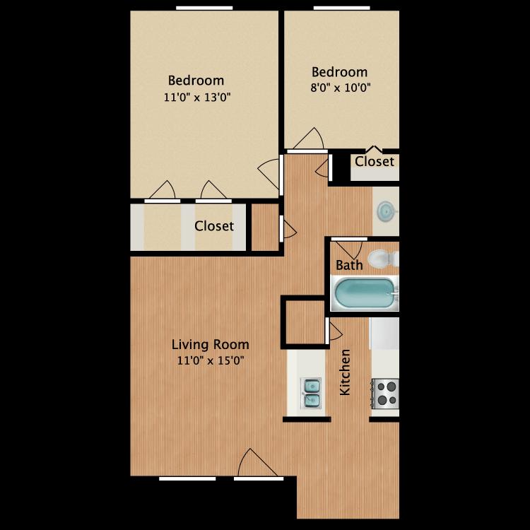 Floor plan image of Austin 2 Bed