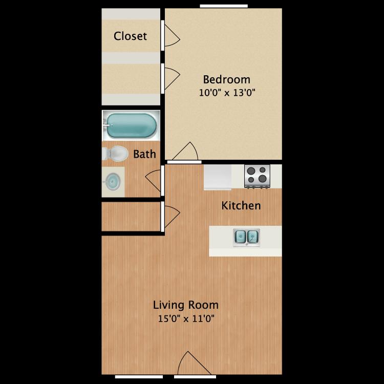 Floor plan image of Bowie 1 Bed