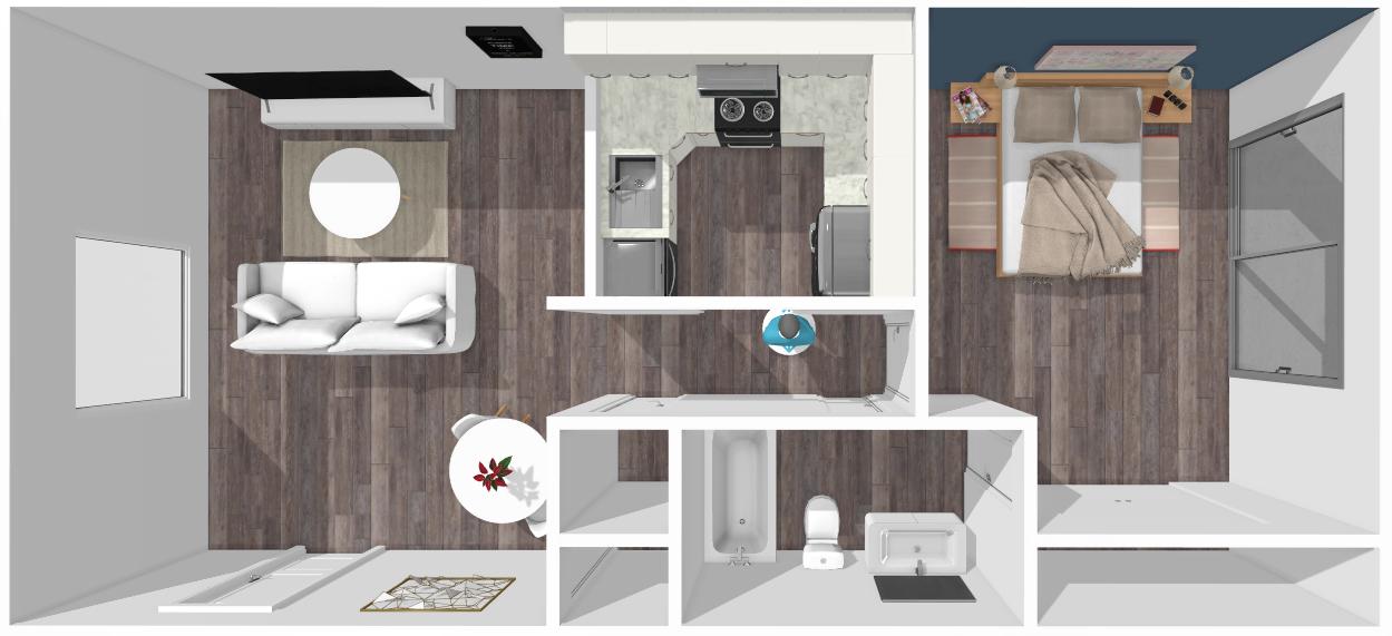 Floor plan image of Crockett 1 Bed