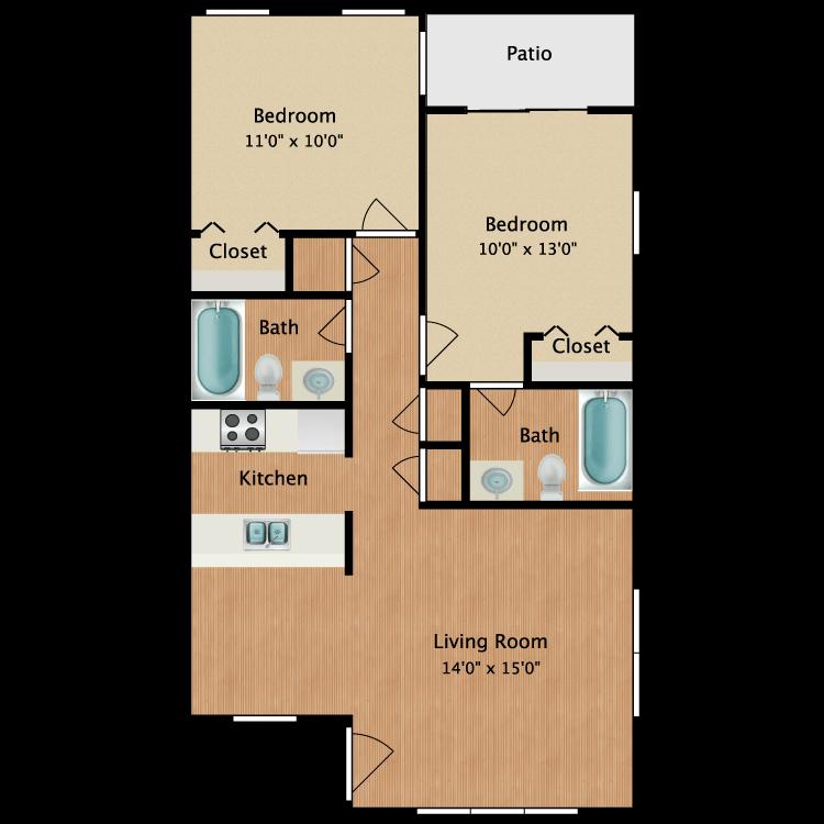 Floor plan image of Crockett 2 Bed