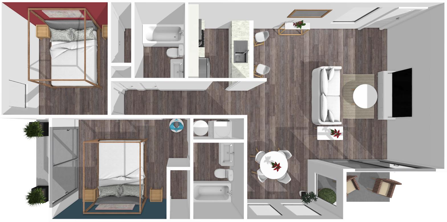 Floor plan image of Daniel 2 Bed 2 Patio