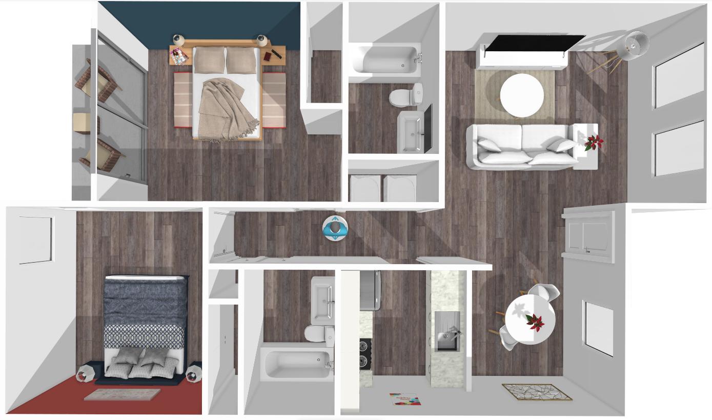 Floor plan image of Daniel 2 Bed 1 Patio