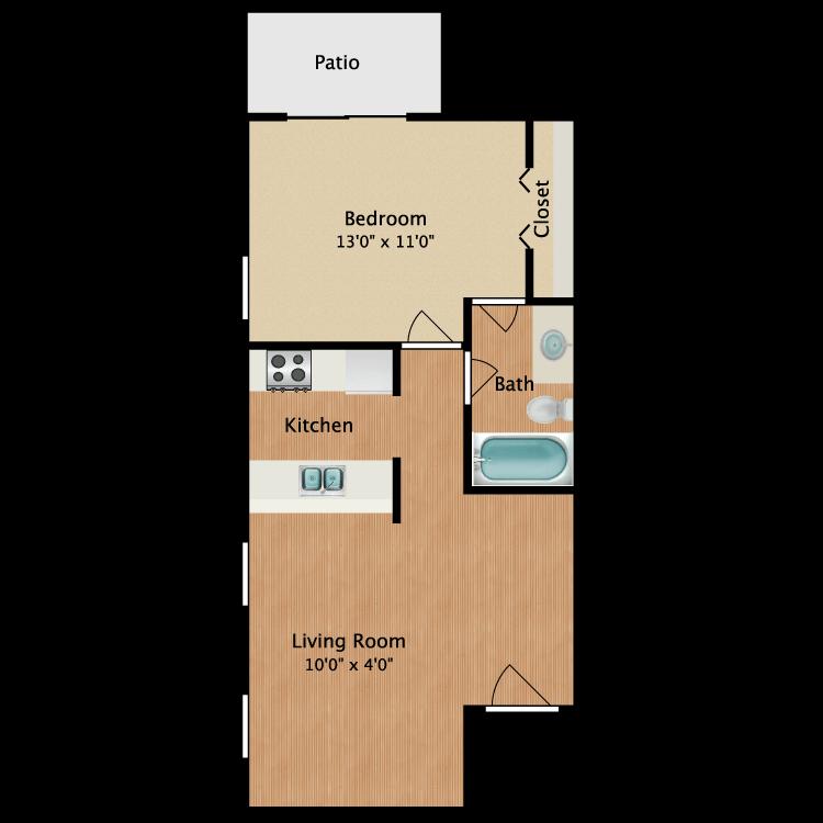 Floor plan image of Daniel 1 Bed