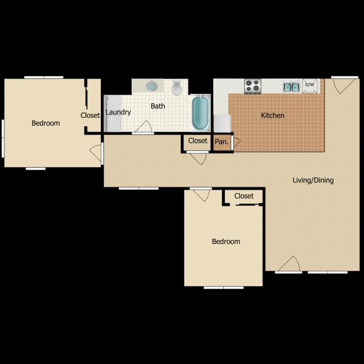 2 Bed 1 Bath B floor plan image