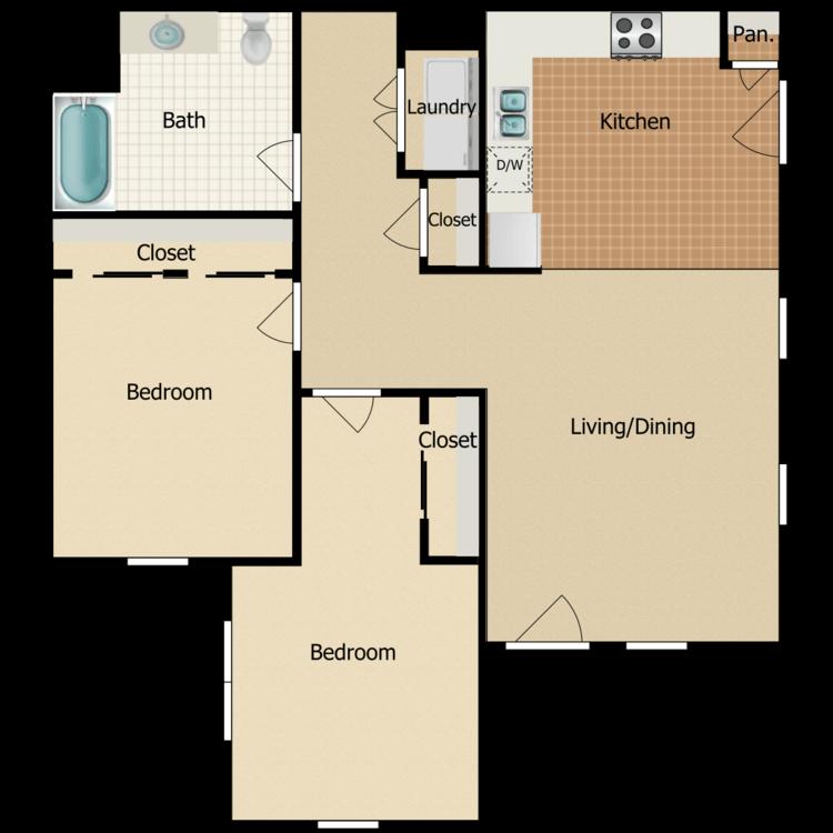 2 Bed 1 Bath C floor plan image
