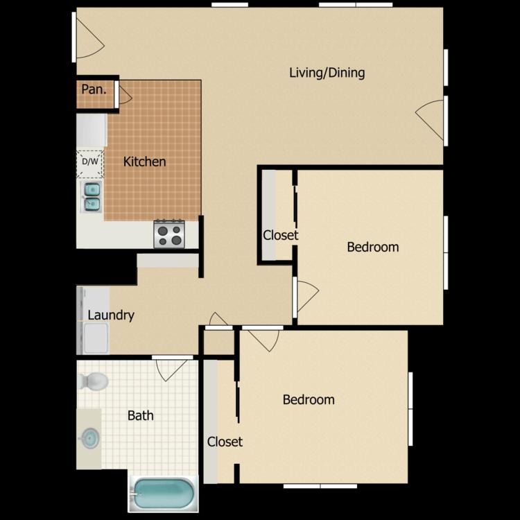 2 Bed 1 Bath D floor plan image