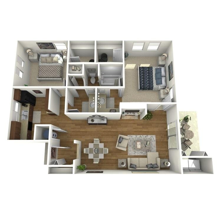 Floor plan image of 2 Bed 1.5 Bath