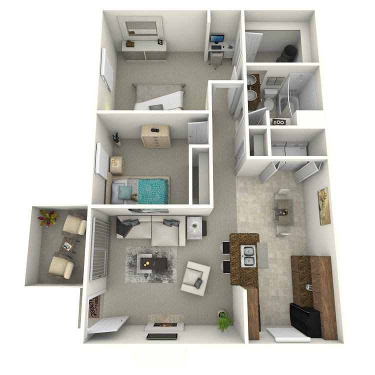 Floor plan image of 2 Bedroom 1 Bath Renovated (South)