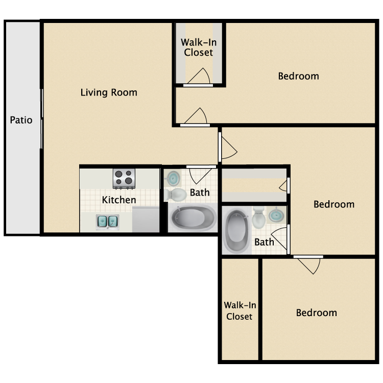 Floor plan image of Three Bedroom