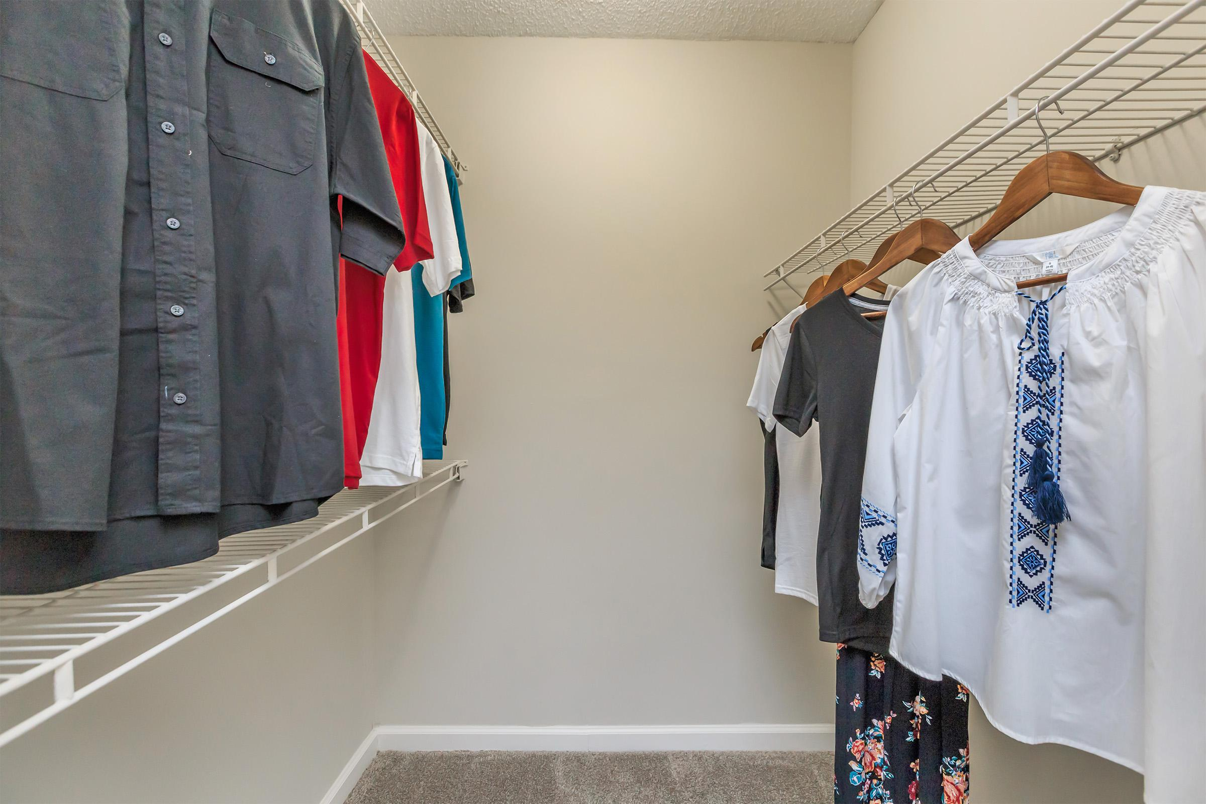 clothes hanging on a wall