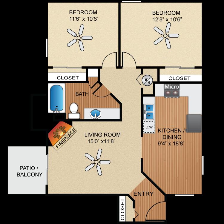 Floor plan image of B1 Santa Cruz  *UPGRADED*