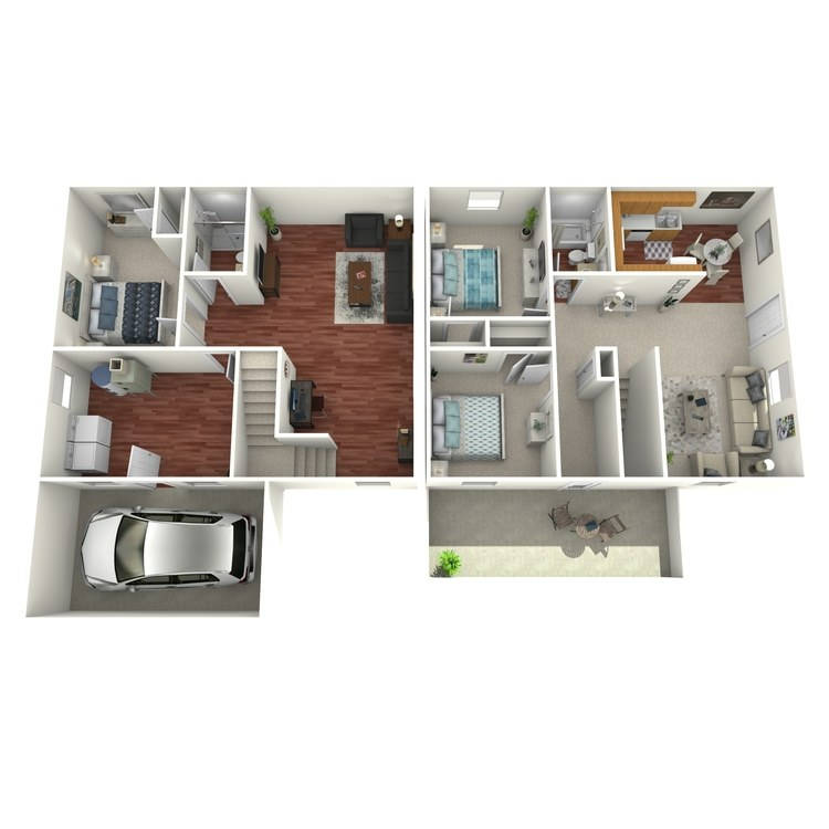 Floor plan image of 3 Bed 2 Bath House with Garage