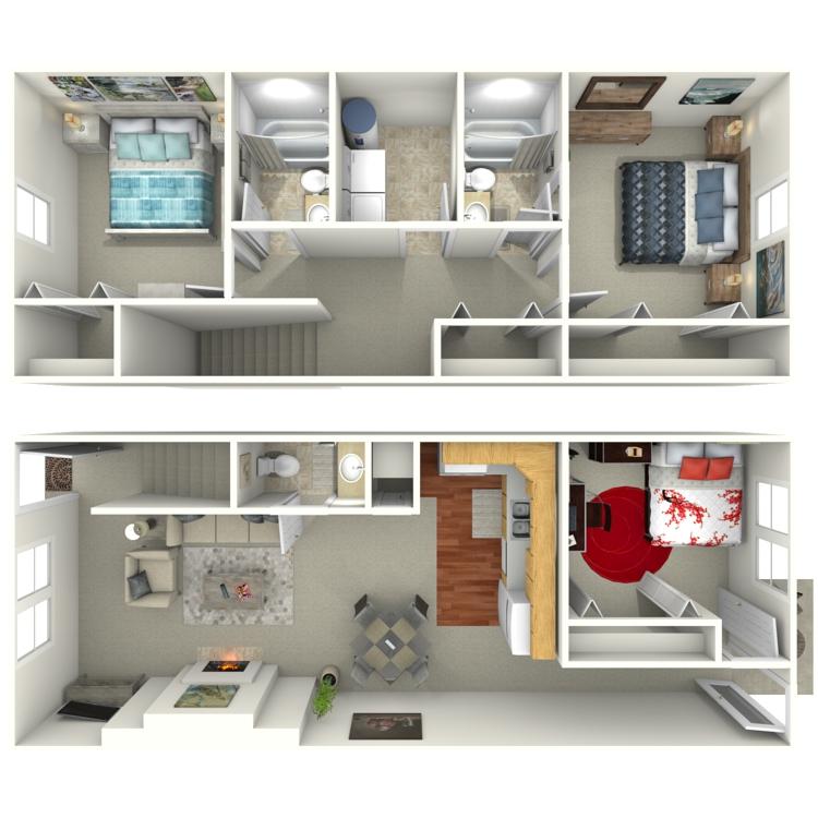 Floor plan image of 3 Bed 2.5 Bath Amaryllis Townhouse
