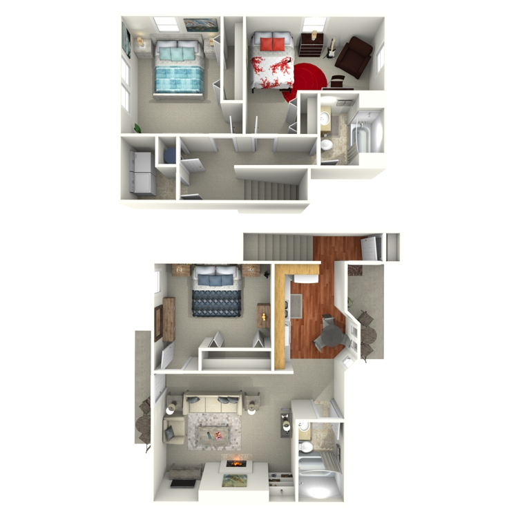 Floor plan image of 3 Bed 2 Bath House Upstairs