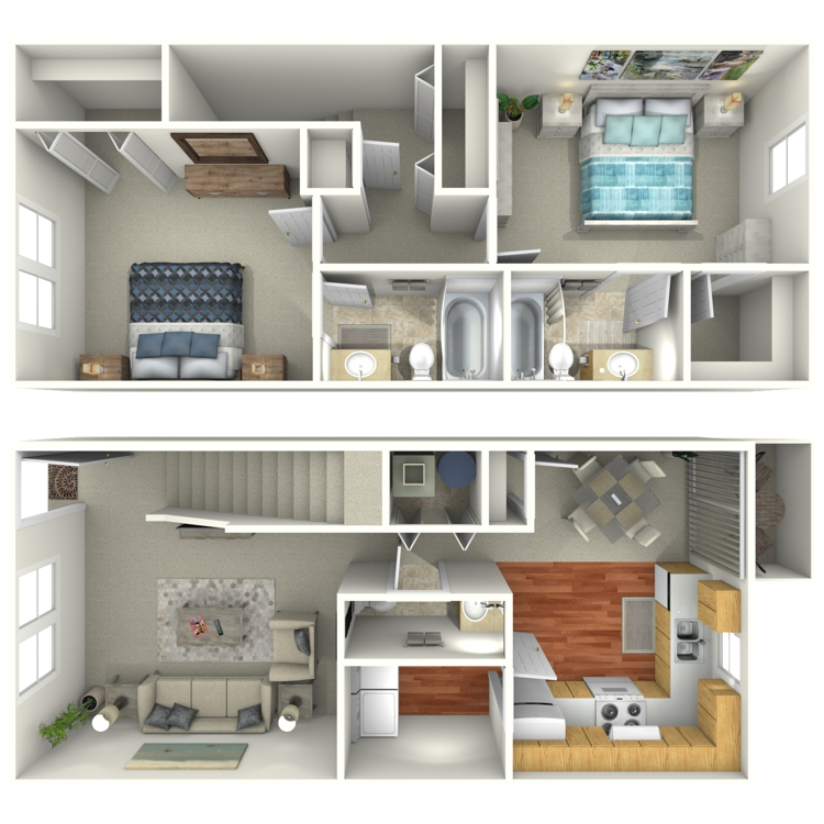 Floor plan image of 2 Bed 2.5 Bath Townhouse