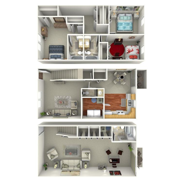 Floor plan image of 3 Bed 3.5 Bath Townhouse Walkout Basement
