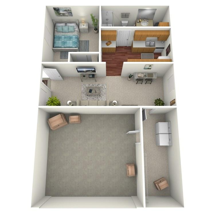 Floor plan image of 1 Bed 1 Bath in Triplex