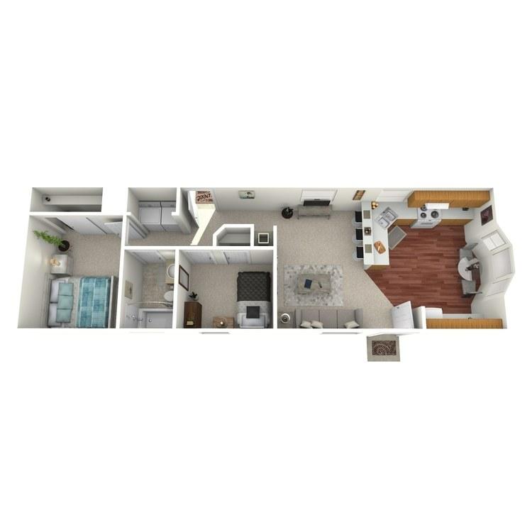 Floor plan image of 2 Bed 1 Bath Modular
