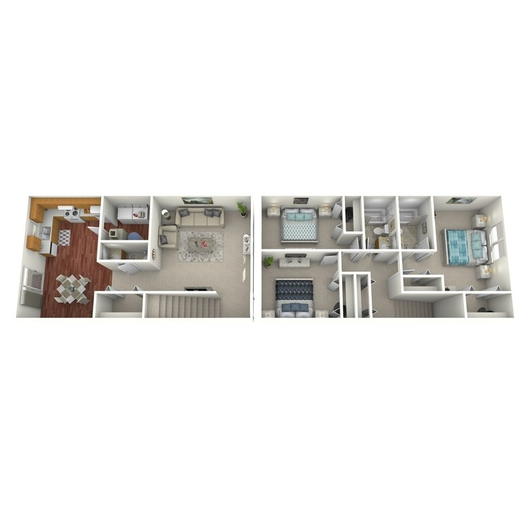 Floor plan image of 3 Bed 2.5 Bath Hoosier Townhouse