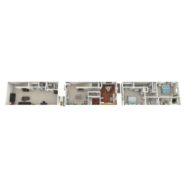 Floor plan image of 2 Bed 3.5 Bath Walkout Basement