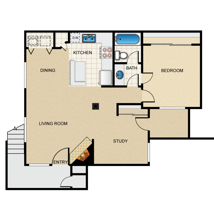 1 Bed 1 Bath C floor plan image