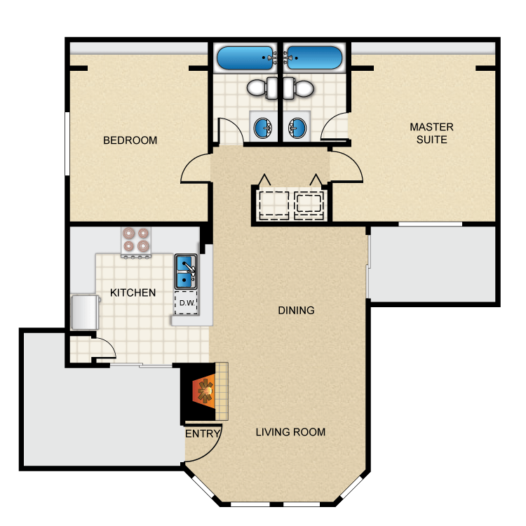 Floor plan image of 2 Bed 2 Bath D