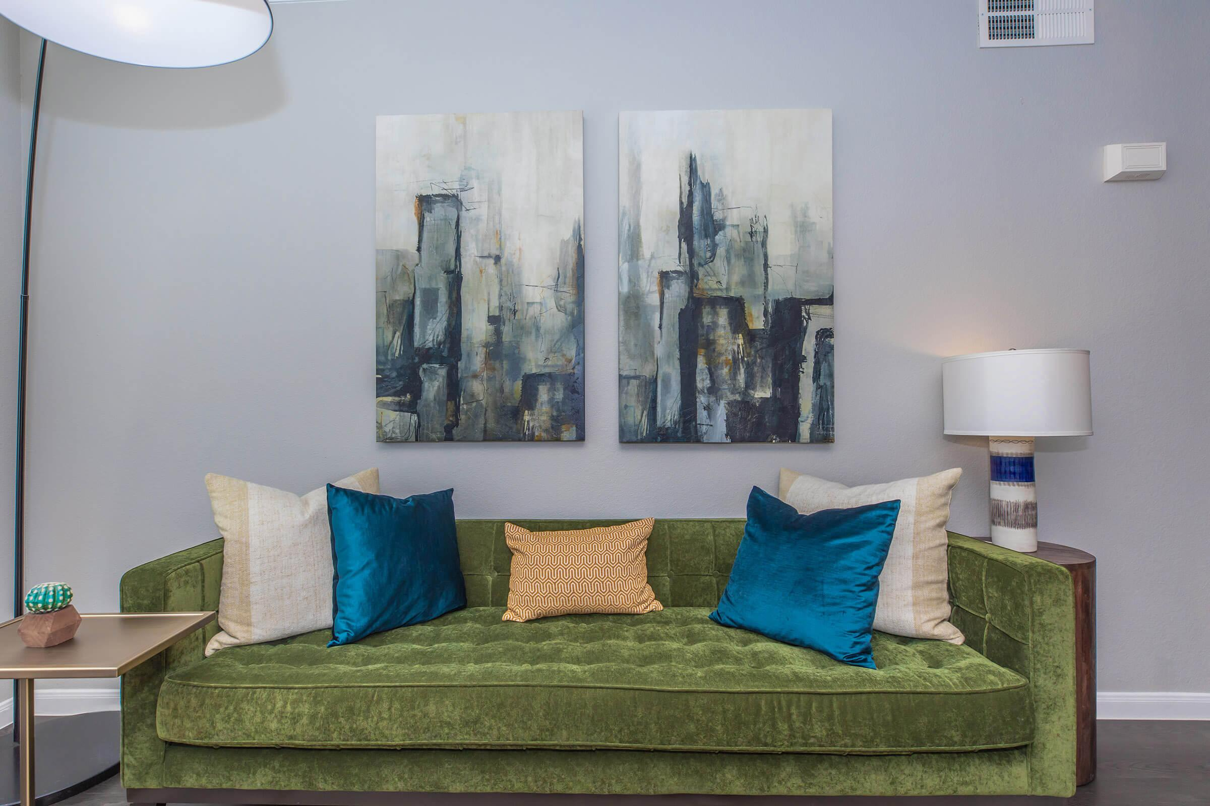 a living room with a blue blanket