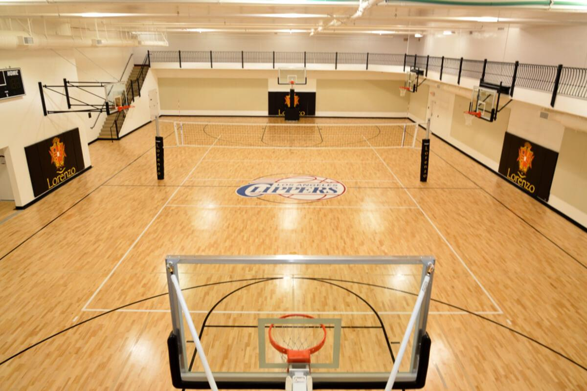 a room with a basketball on a wooden floor