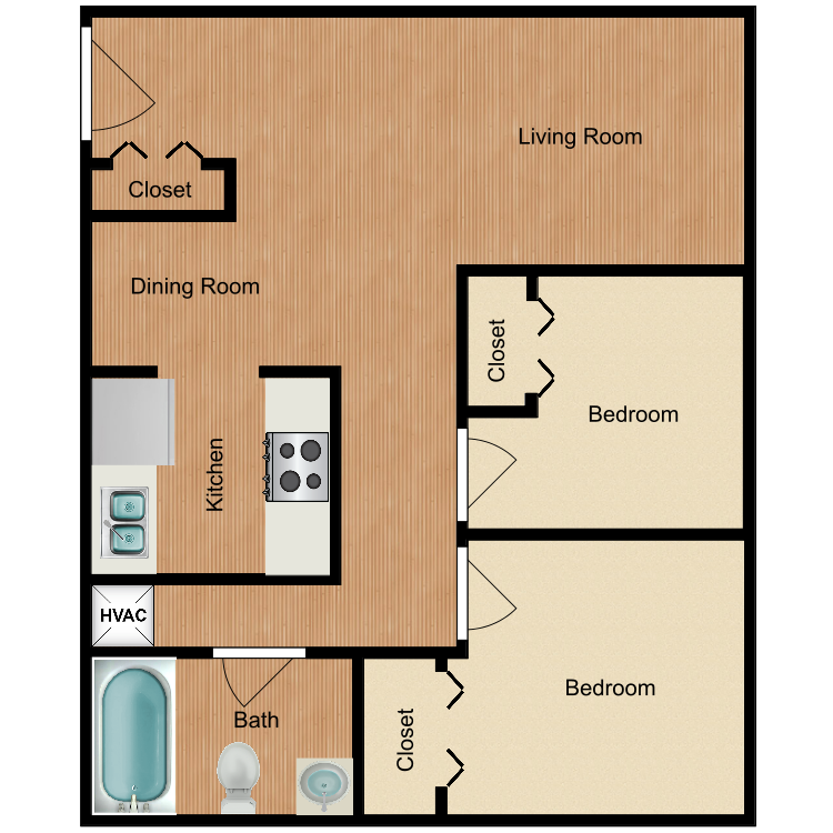 Two Bed One Bath floor plan image