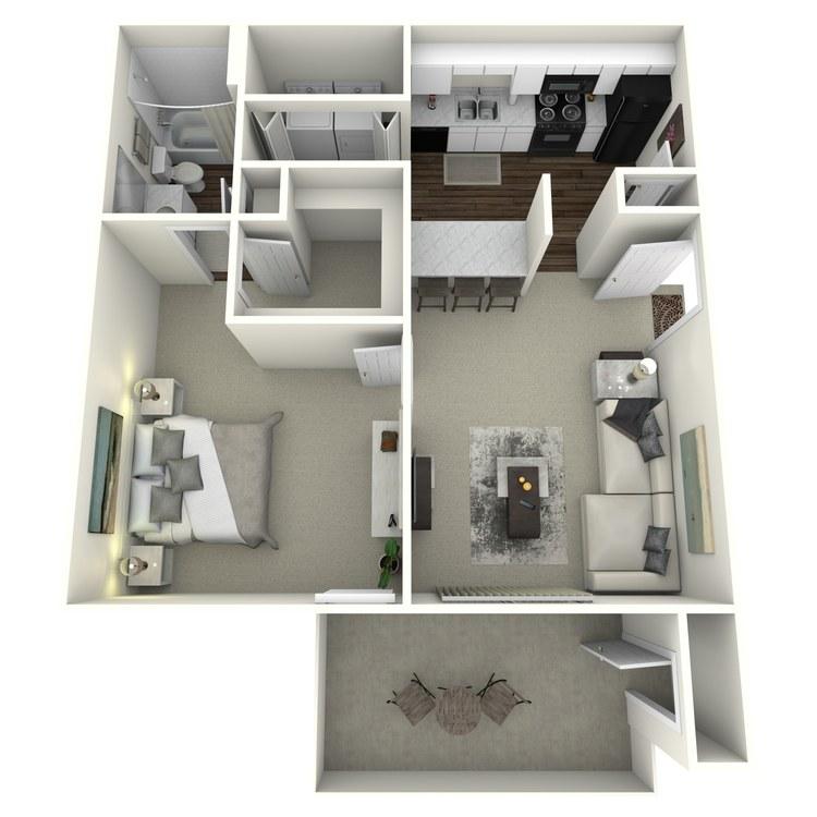 Floor plan image of 1x1 629