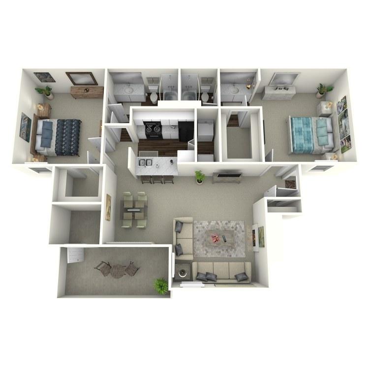 Floor plan image of 2x2 1004