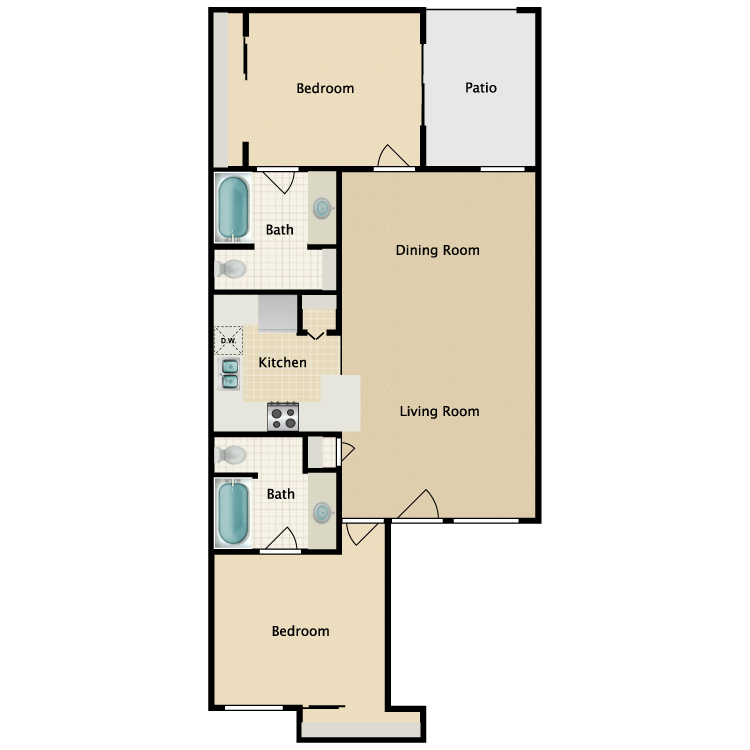 Floor plan image of 2 Bed 2 Bath Villas