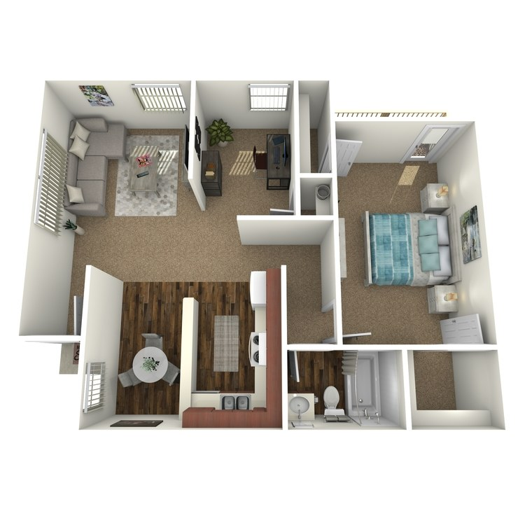 Floor plan image of One Bed w/ Den