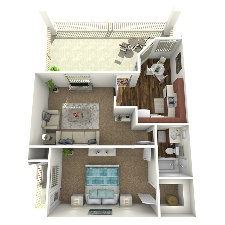 Floor plan image of One Bed w/ Patio