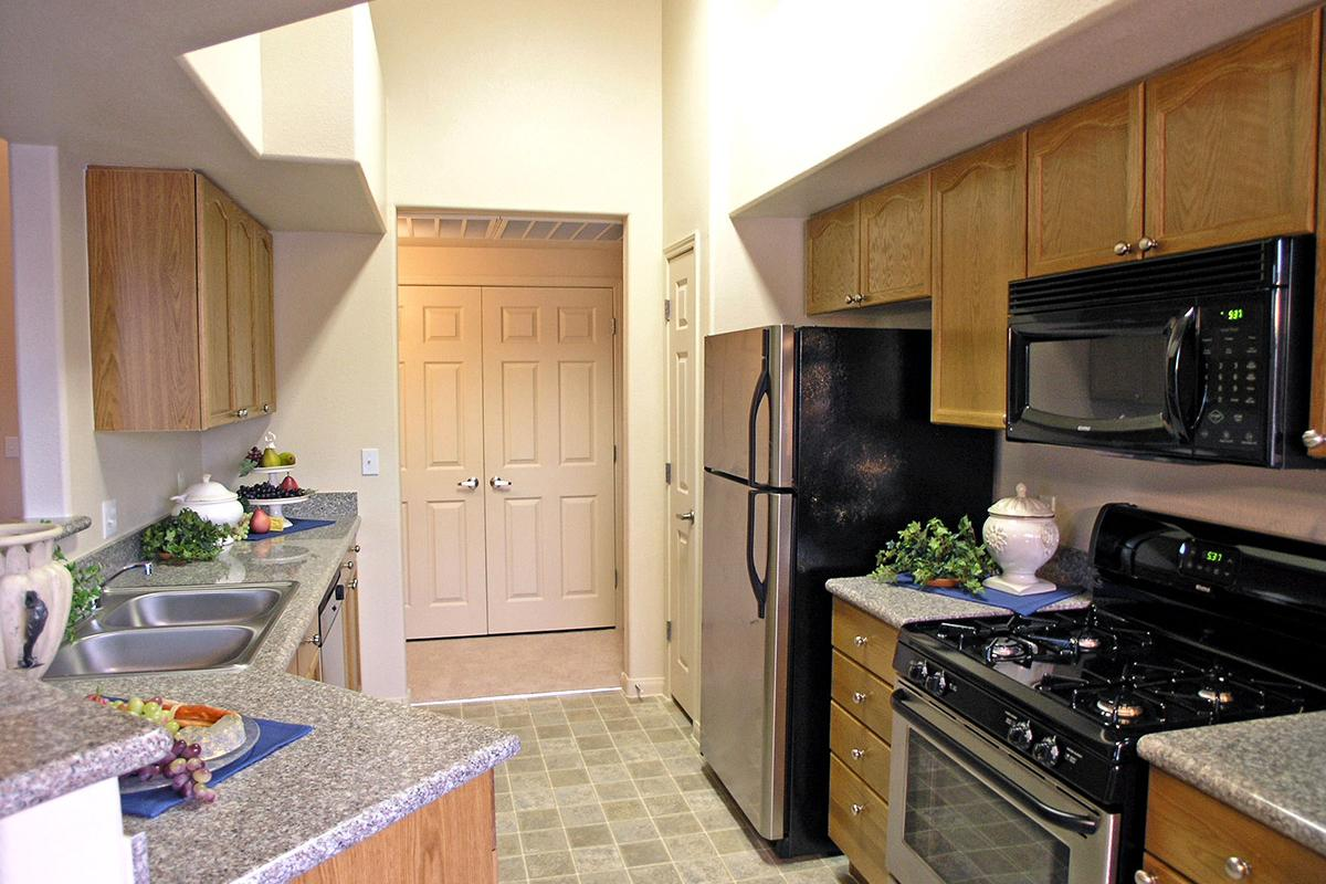 KITCHEN WITH BUILT-IN MICROWAVE