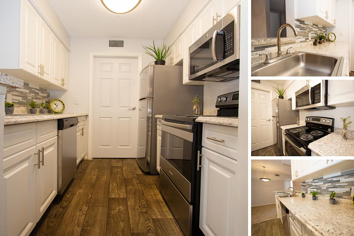 a kitchen filled with lots of counter space
