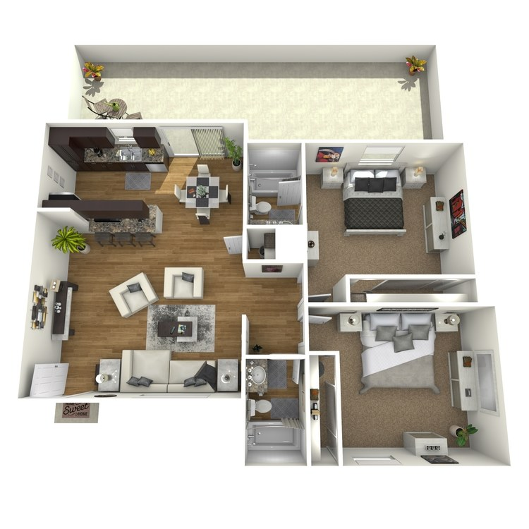Floor plan image of 2 Bed 2 Bath Down Deluxe